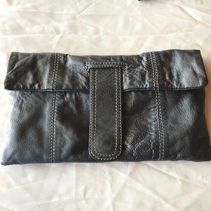 Pewter soft leather clutch